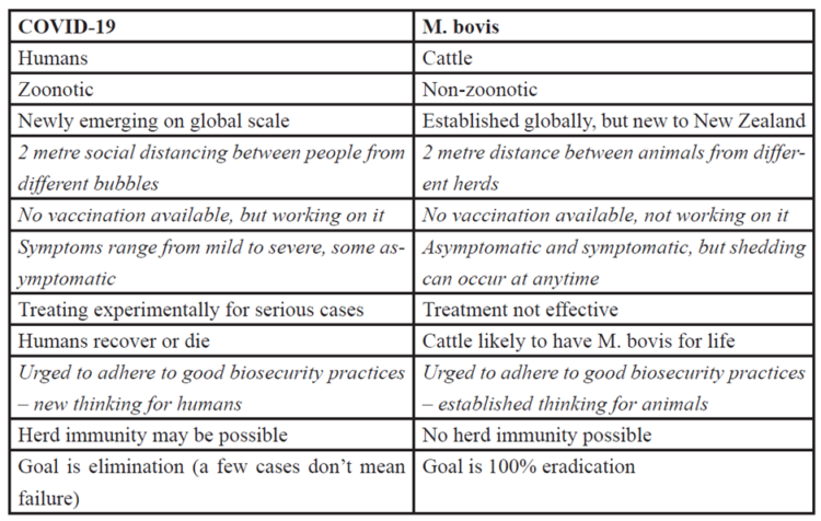 Figure 1: Comparative analysis between COVID-19 and M bovis